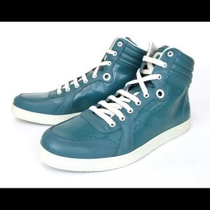 Gucci GG Turquoise Imprime Mens Hi Top Sneakers